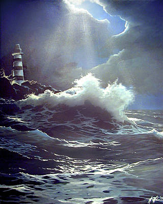 Painting - Lighthouse Point by James R Hahn