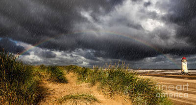 Talacre Photograph - Lighthouse Rainbow by Adrian Evans