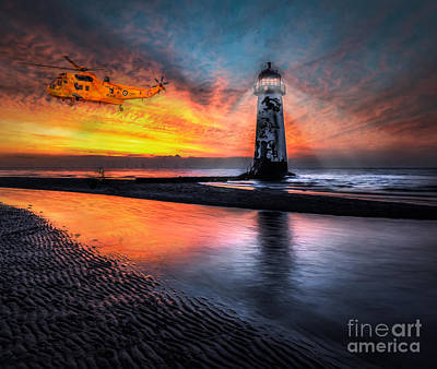 Helicopter Digital Art - Lighthouse Rescue by Adrian Evans