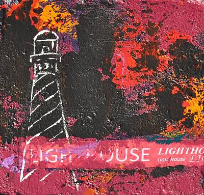 Painting - Lighthouse Rock, Red Night by Eduard Meinema