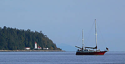 Photograph - Lighthouse Sailing Vancouver Island Bc by Barbara St Jean