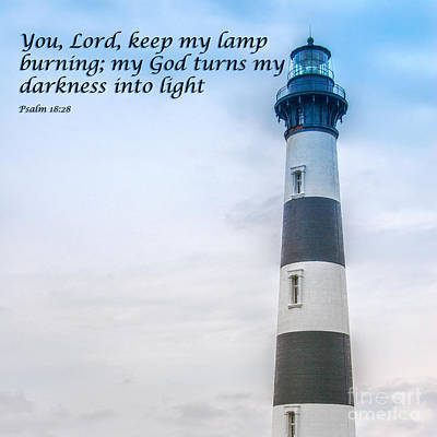 Christian Artwork Digital Art - Lighthouse Scripture Verse by Randy Steele