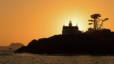 Photograph - Lighthouse Silhouette Crescent City California by Lawrence S Richardson Jr