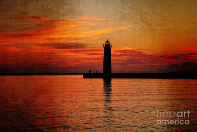 Muskegon Lighthouse Wall Art - Photograph - Lighthouse Silhouette  by Emily Kay