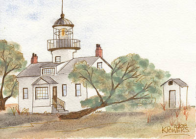 Lighthouse Sketch Art Print by Ken Powers