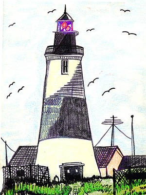 Painting - Lighthouse Sketch,drawing by Merton Allen
