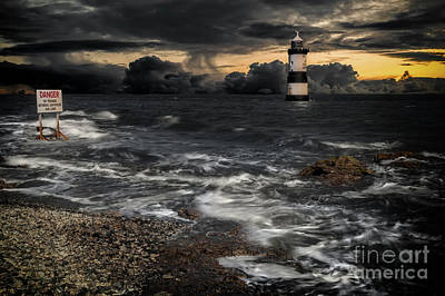 Puffins Photograph - Lighthouse Storm by Adrian Evans