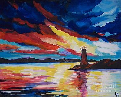 Painting - Lighthouse Storm by Leslie Allen