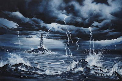 Lighthouse Storm  Art Print