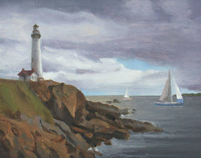 Painting - Lighthouse Study by Charles Pompilius