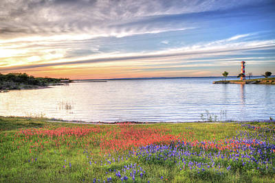 Lighthouse Sunset At Lake Buchanan Art Print
