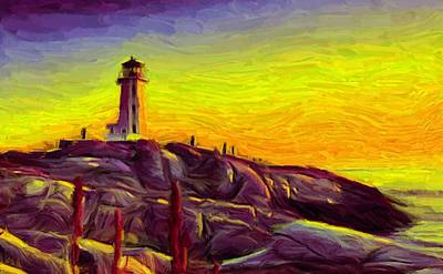 Digital Art - Lighthouse Sunset by Caito Junqueira