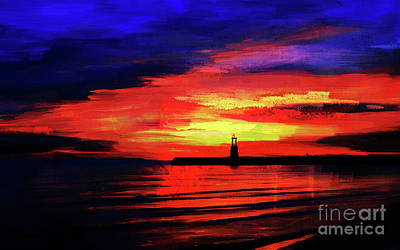 Jersey Shore Painting - Lighthouse Sunset  by Gull G
