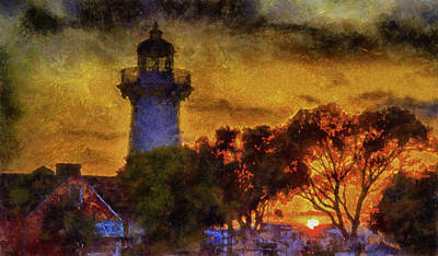 Mixed Media - Lighthouse Sunset by Joseph Hollingsworth