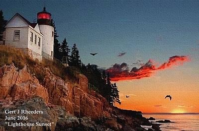 Lighthouse Sunset L A Print by Gert J Rheeders