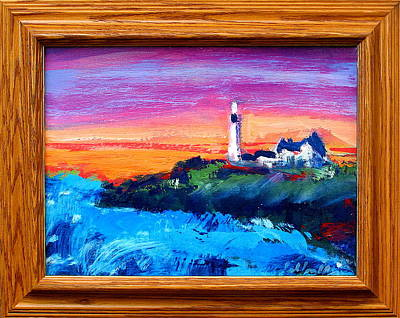 Painting - Lighthouse Sunset by Les Leffingwell