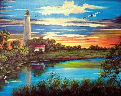 Lemon Mixed Media - Lighthouse Sunset by Riley Geddings