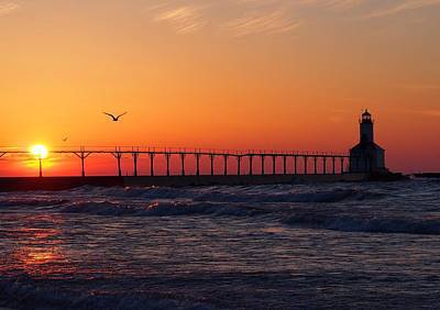 Indiana Photograph - Lighthouse Sunset by Sarah Mitcheltree
