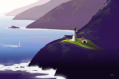 Coastal Landscape Digital Art - Lighthouse by Tom Carlos