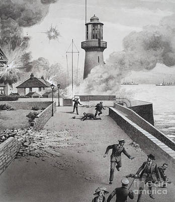 Destroying Painting - Lighthouse Under Bombardment by Pat Nicolle