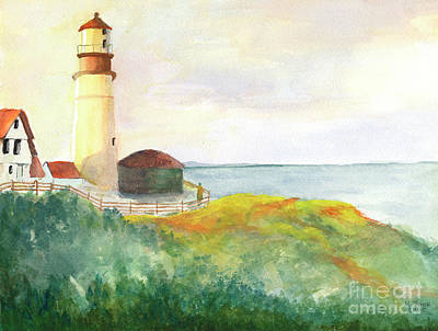 Painting - Lighthouse-watercolor by Marlene Book