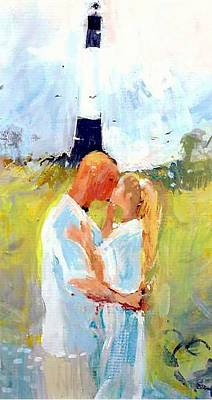 Lighthouse Wedding Art Print by Gertrude Palmer