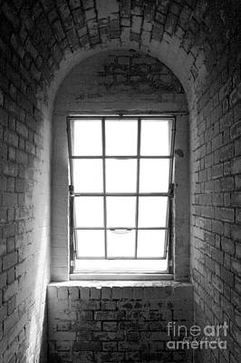 Photograph - Lighthouse Window In Black And White by E B Schmidt