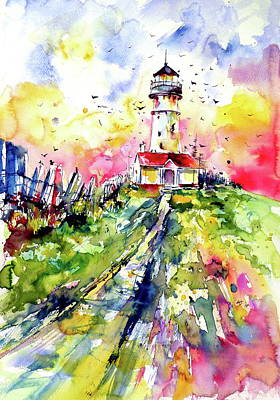 Painting - Lighthouse With Birds by Kovacs Anna Brigitta