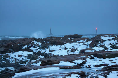 Photograph - Lighthouses In A Nor'easter by Jeff Folger