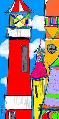 Digital Art - Lighthouse Carnival by Jason Nicholas
