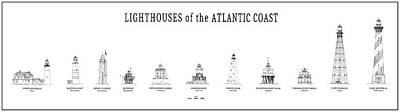 Lighthouses Of The Atlantic Coast Print by Daniel Hagerman