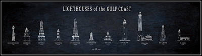 Lighthouses Of The Gulf Coast Blueprint Print by Daniel Hagerman