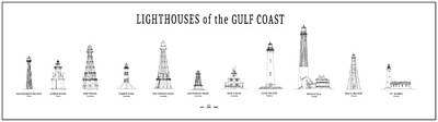 Lighthouses Of The Gulf Coast Print by Daniel Hagerman