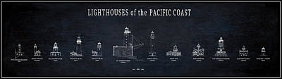Lighthouses Of The Pacific Coast Blueprint Print by Daniel Hagerman