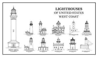 Drawing - Lighthouses Of United States - West Coast - Blueprint Drawing by Jose Elias - Sofia Pereira