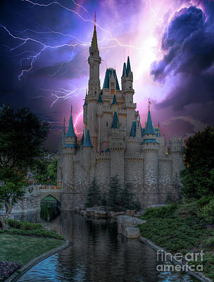 Lighting Over The Castle Art Print
