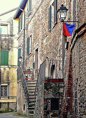 Photograph - Lighting The Steps Panicale by Dorothy Berry-Lound