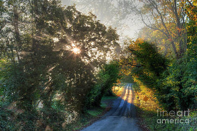Gravel Road Photograph - Lighting The Way  by Larry Braun