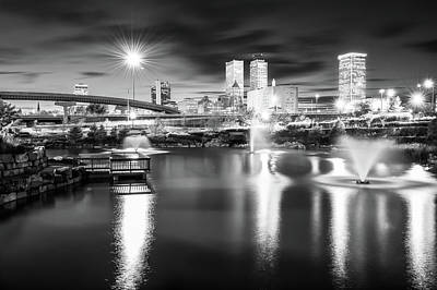 Photograph - Lighting Up The Tulsa Skyline - Black And White by Gregory Ballos
