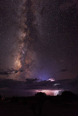 Lightning And Milky Way Art Print