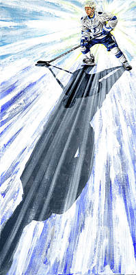 Hockey Painting - Lightning And Shadow by Joan Garcia