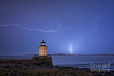 Lightning And The Lighthouse Art Print
