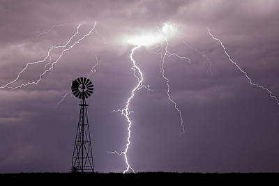 Photograph - Lightning And Windmill -02 by Rob Graham