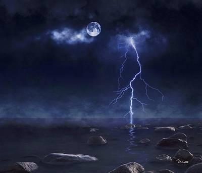 Photograph - Lightning At Sea by Mark Taylor