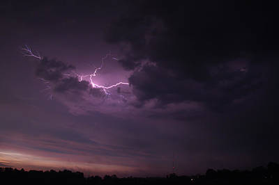Art Print featuring the photograph Lightning At Sunset by Mark Dodd
