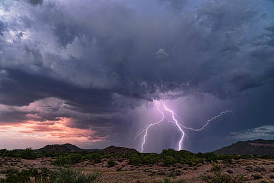 Photograph - Lightning At Sunset  by Saija Lehtonen