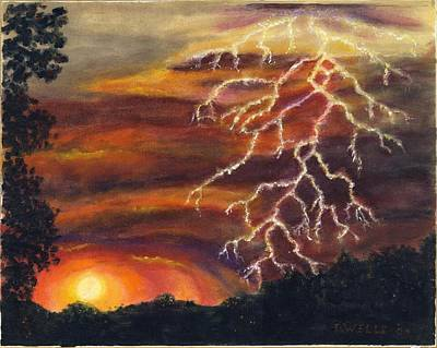 Lightning At Sunset Art Print by Tanna Lee M Wells