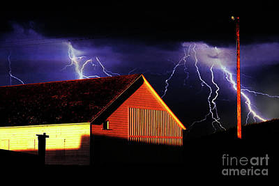 Lightning At The Old Ranch . 40d4577 Print by Wingsdomain Art and Photography