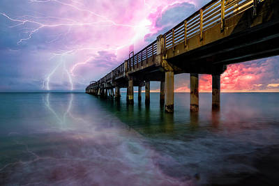 Photograph - Lightning At The Pier by Debra and Dave Vanderlaan