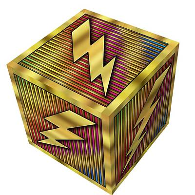 Digital Art - Lightning Bolt Cube - Transparent by Chuck Staley